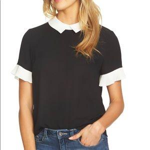 CeCe black pleat sleeve collared crepe blouse